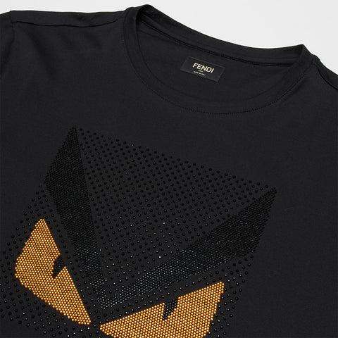 FENDI MONSTER STRAS CRYSTAL T-SHIRT BLACK