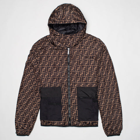 FENDI REVERSIBLE SHELL JACKET BLACK/BROWN
