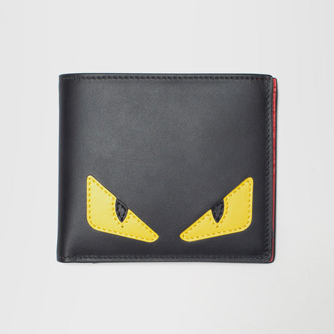 FENDI LEATHER BAD BUGS MOTIF WALLET BLACK