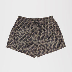 FENDI FF LOGO SHORT SWIMSHORTS BROWN
