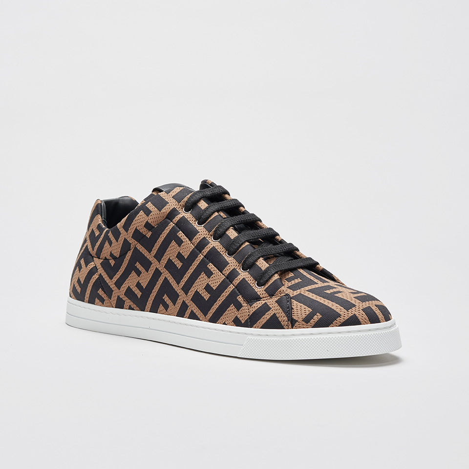 FENDI FF MONOGRAMMED KNITTED SNEAKERS