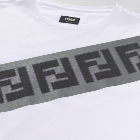 FENDI LOGO PRINT GREY STRIPE T-SHIRT WHITE