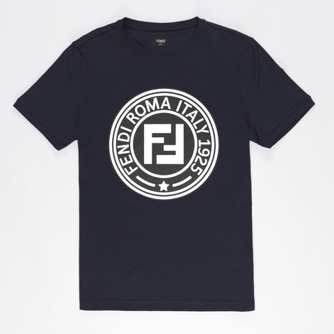 FENDI PRINTED FF LOGO 1925 T-SHIRT BLUE