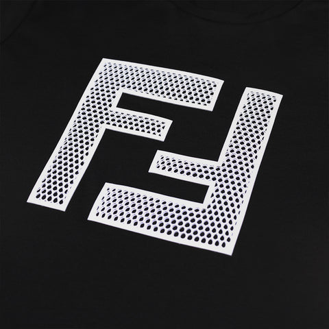 FENDI EMBROIDERED FF LOGO T-SHIRT BLACK