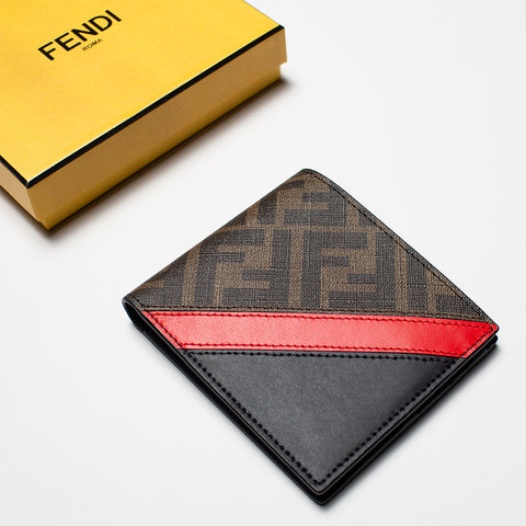 FENDI  LEATHER BI-FOLD WALLET BROWN