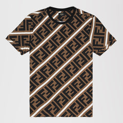 FENDI DOUBLE F LOGO T-SHIRT TAN