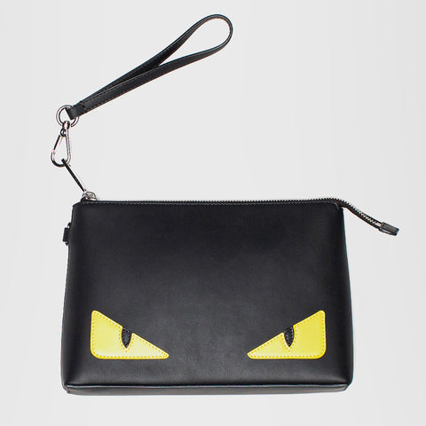 FENDI LEATHER POCHETTE POUCH BLACK
