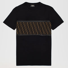 FENDI FF MESH LOGO T-SHIRT BLACK