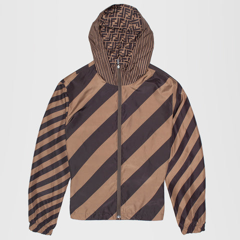 FENDI BLOUSON REVERSIBLE SHELL WINDBREAKER BLACK/BROWN