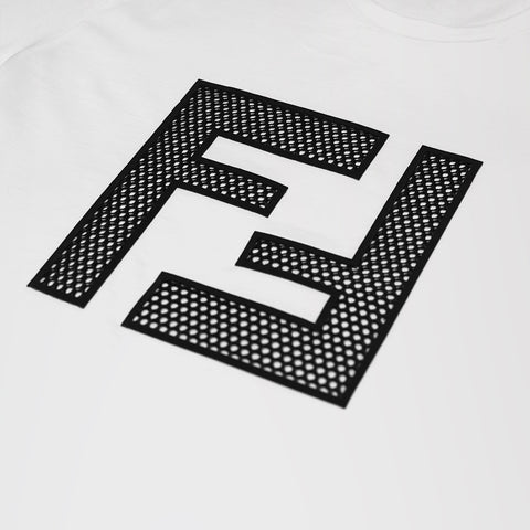 FENDI EMBROIDERED FF LOGO T-SHIRT WHITE