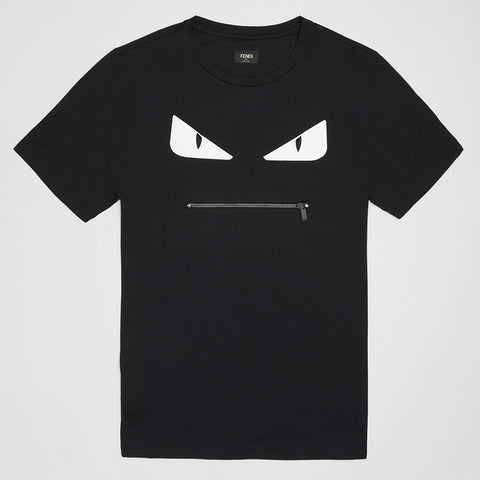 FENDI ZIP MONSTER LEATHER EYES T SHIRT BLACK