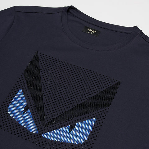 FENDI MONSTER STRAS CRYSTAL T-SHIRT BLUE