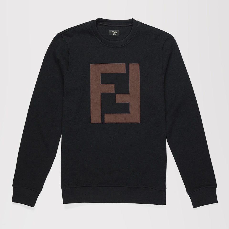 FENDI LOGO-APPLIQUE WOOL SWEATSHIRT BLACK