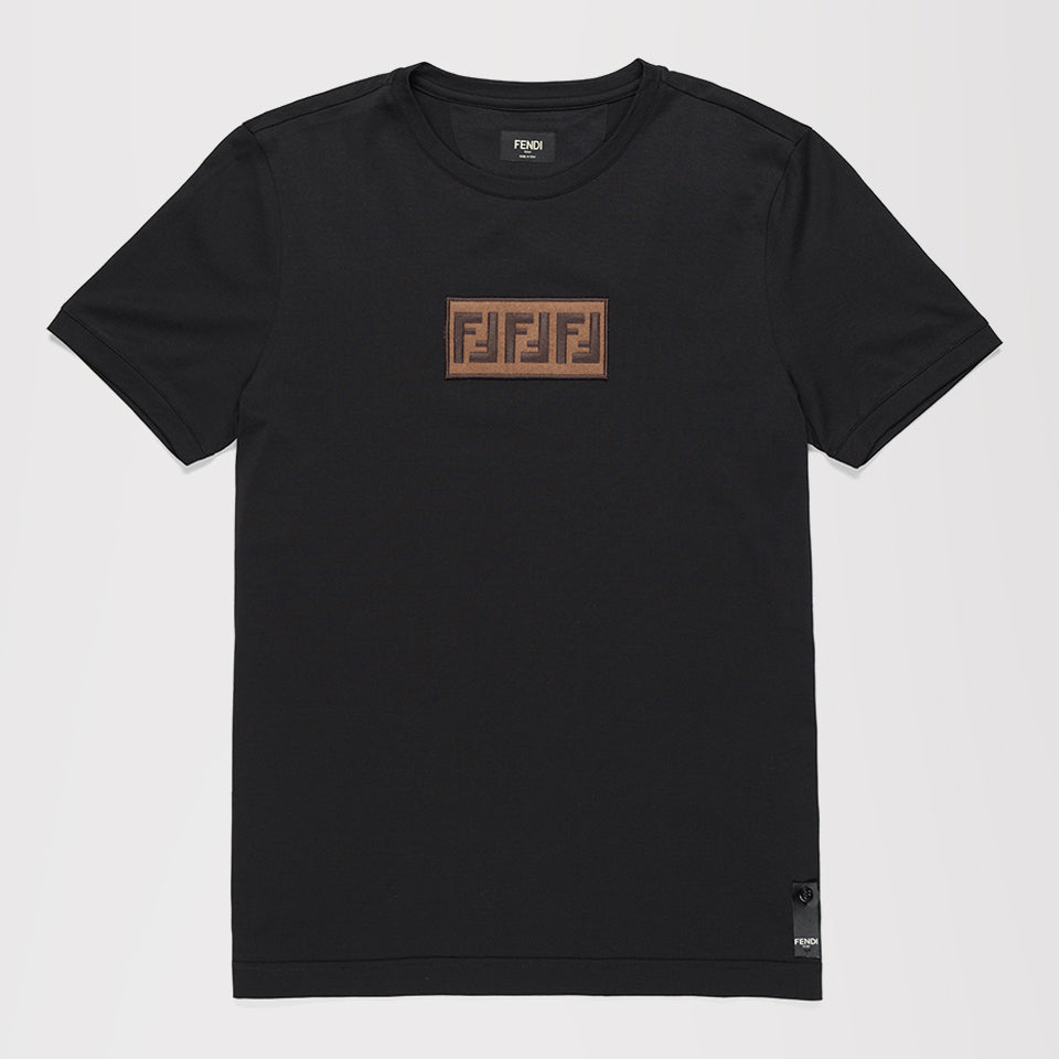 FENDI SUEDE LOGO-EMBROIDERED PATCH T-SHIRT BLACK