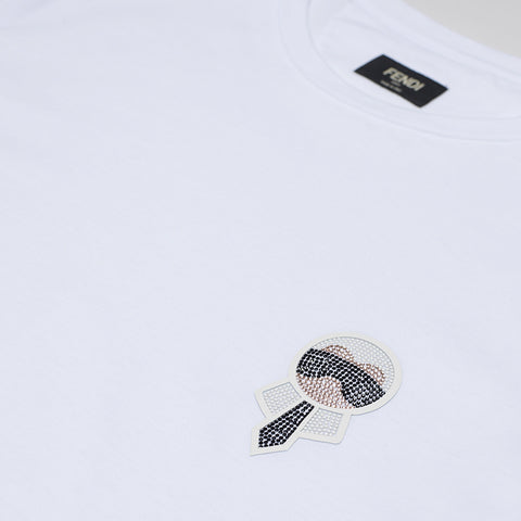 FENDI NEW STRASS MINI KARL TSHIRT WHITE