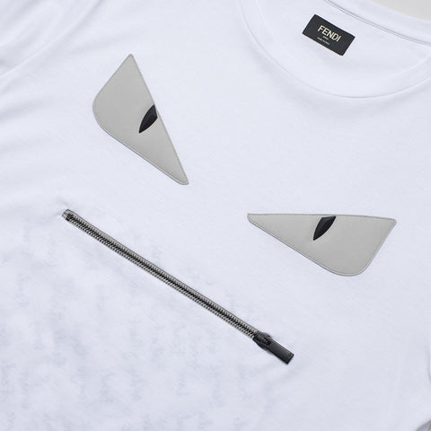 FENDI ZIP MONSTER LEATHER EYES T SHIRT WHITE