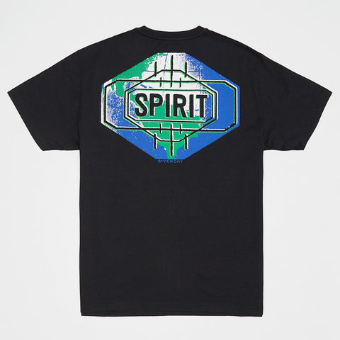 GIVENCHY GRAPHIC SPIRIT LOGO-PRINT T-SHIRT BLACK