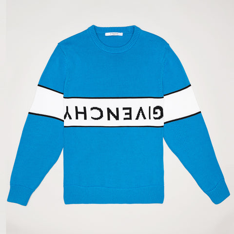 GIVENCHY UPSIDE DOWN LOGO JUMPER BLUE