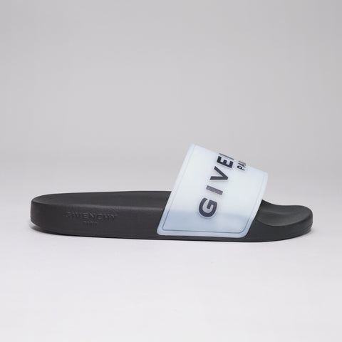 GIVENCHY LOGO EMBOSSED SLIDES GLOW IN THE DARK