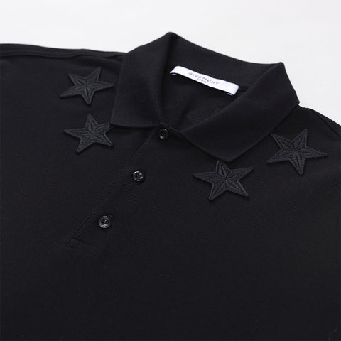 GIVENCHY STAR-EMBROIDERED POLO SHIRT BLACK