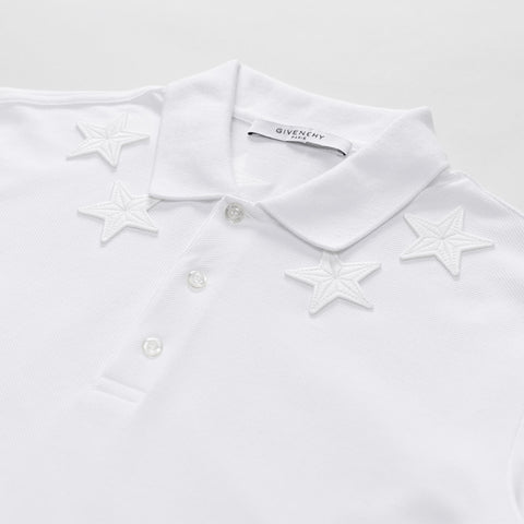 GIVENCHY STAR-EMBROIDERED POLO SHIRT WHITE