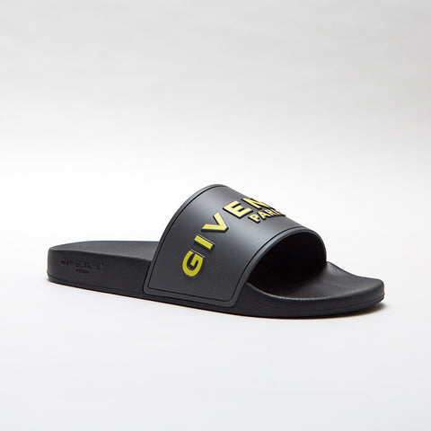 GIVENCHY YELLOW 3D LOGO SLIDES BLACK/GREY