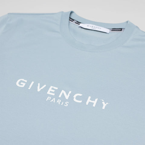 GIVENCHY DISTRESSED-LOGO T-SHIRT BLUE