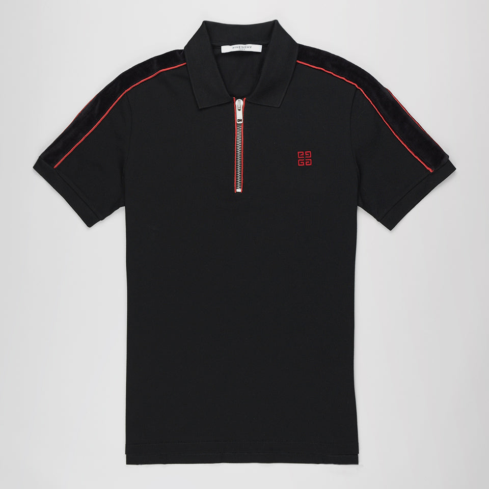 GIVENCHY HALF-ZIP COTTON-PIPUE POLO SHIRT BLACK/RED