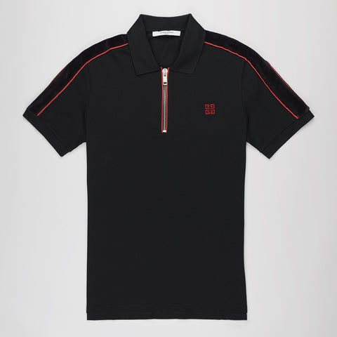 GIVENCH HALF-ZIP COTTON-PIPUE POLO SHIRT BLACK/RED