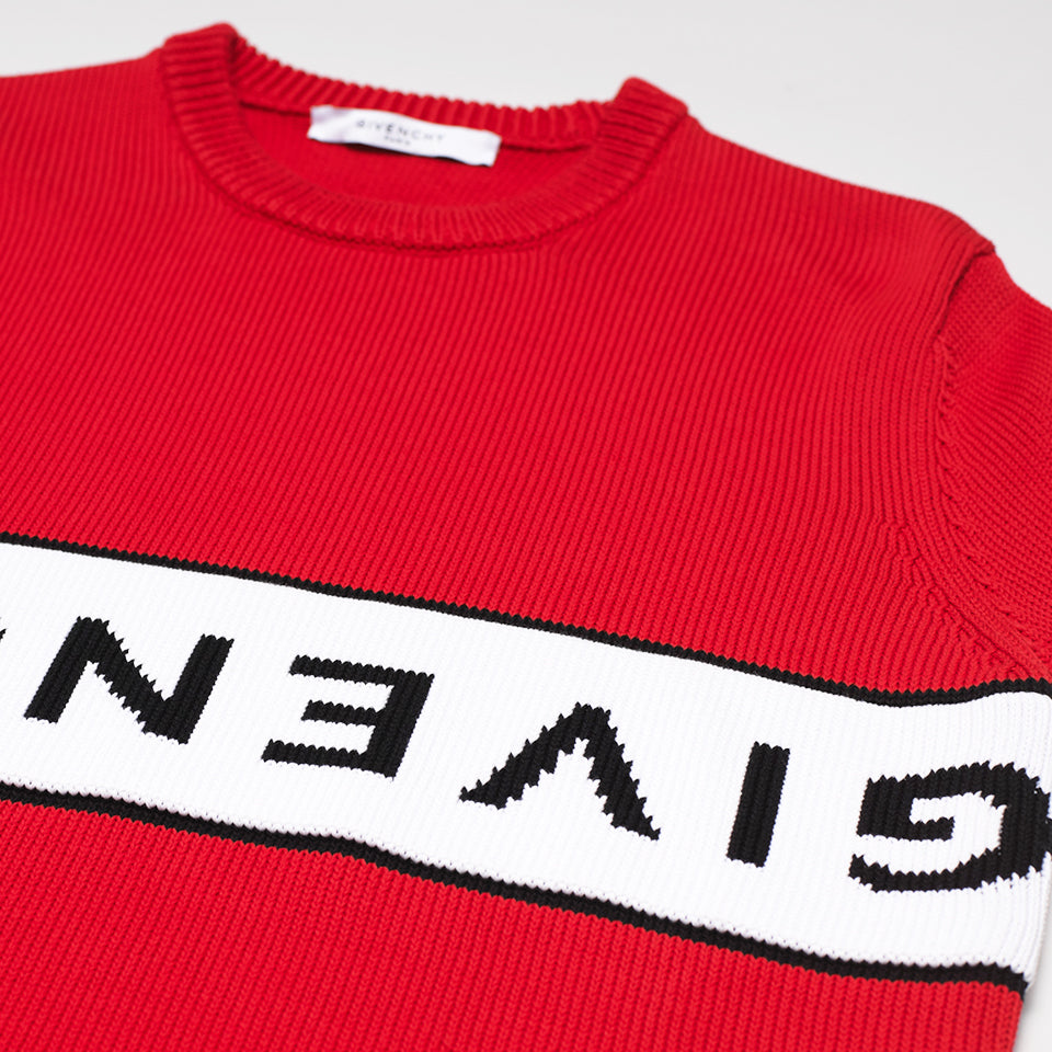 GIVENCHY UPSIDE DOWN LOGO JUMPER RED