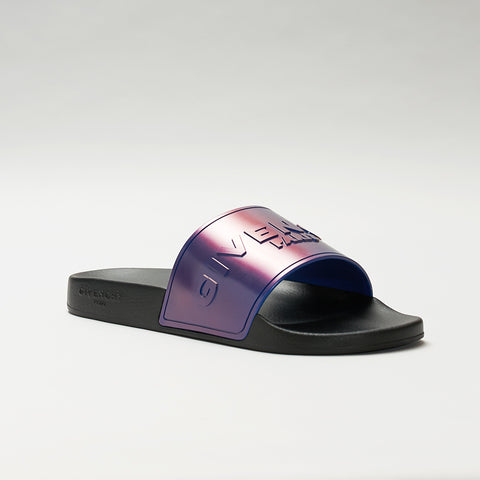 GIVENCHY LOGO EMBOSSED IRIDESCENT SLIDES