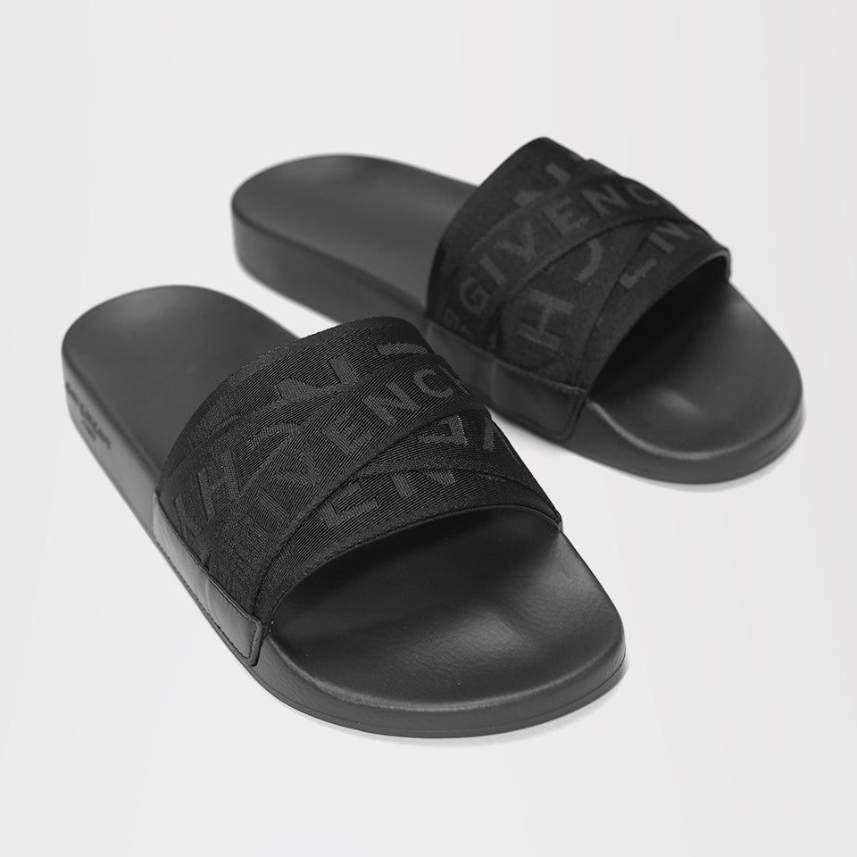 GIVENCHY 4G WEBBING SLIDES BLACK