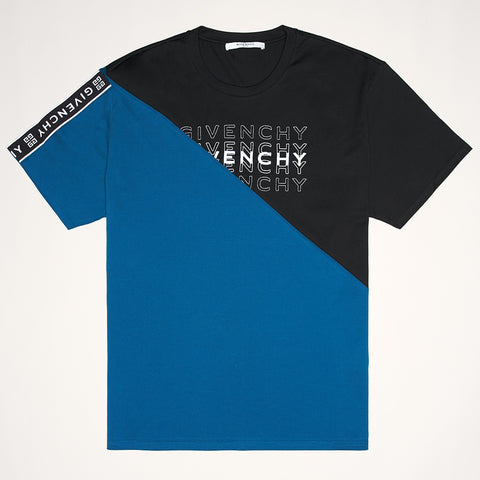 GIVENCHY BI-COLOUR LOGO T-SHIRT BLUE