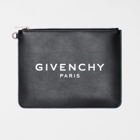 GIVENCHY PARIS LEATHER ZIPPED POUCH BLACK