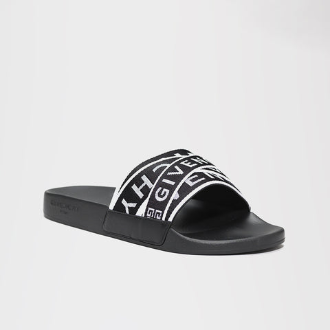 GIVENCHY 4G WEBBING SLIDES BLACK/WHITE