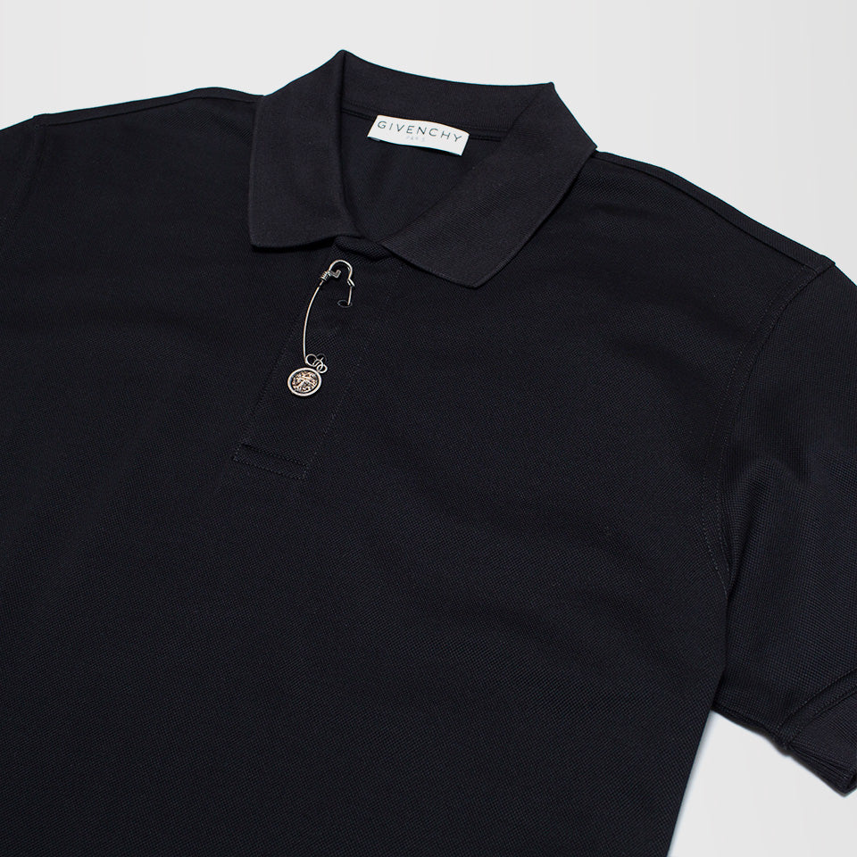 GIVENCHY ZIP CLOSURE POLO SHIRT BLACK