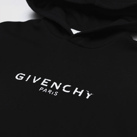 GIVENCHY DISTRESSED-LOGO HOODED SWEATSHIRT BLACK