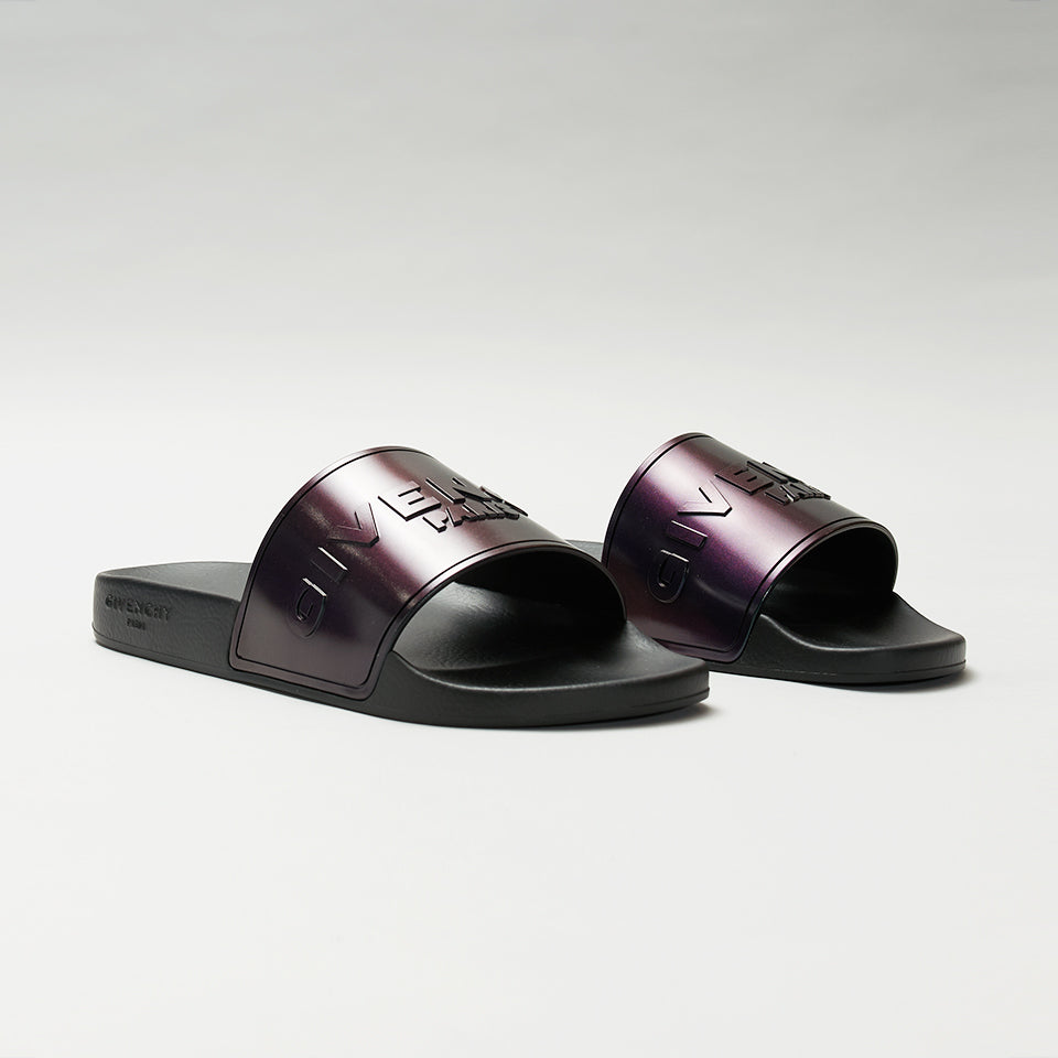 GIVENCHY LOGO EMBOSSED IRIDESCENT SLIDES BLACK