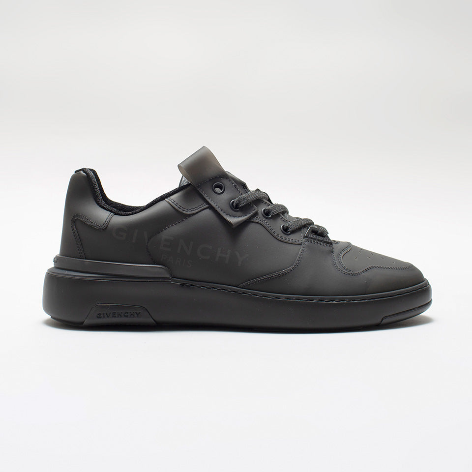 GIVENCHY WING GRAINED-LEATHER LOW -TOP SNEAKERS BLACK
