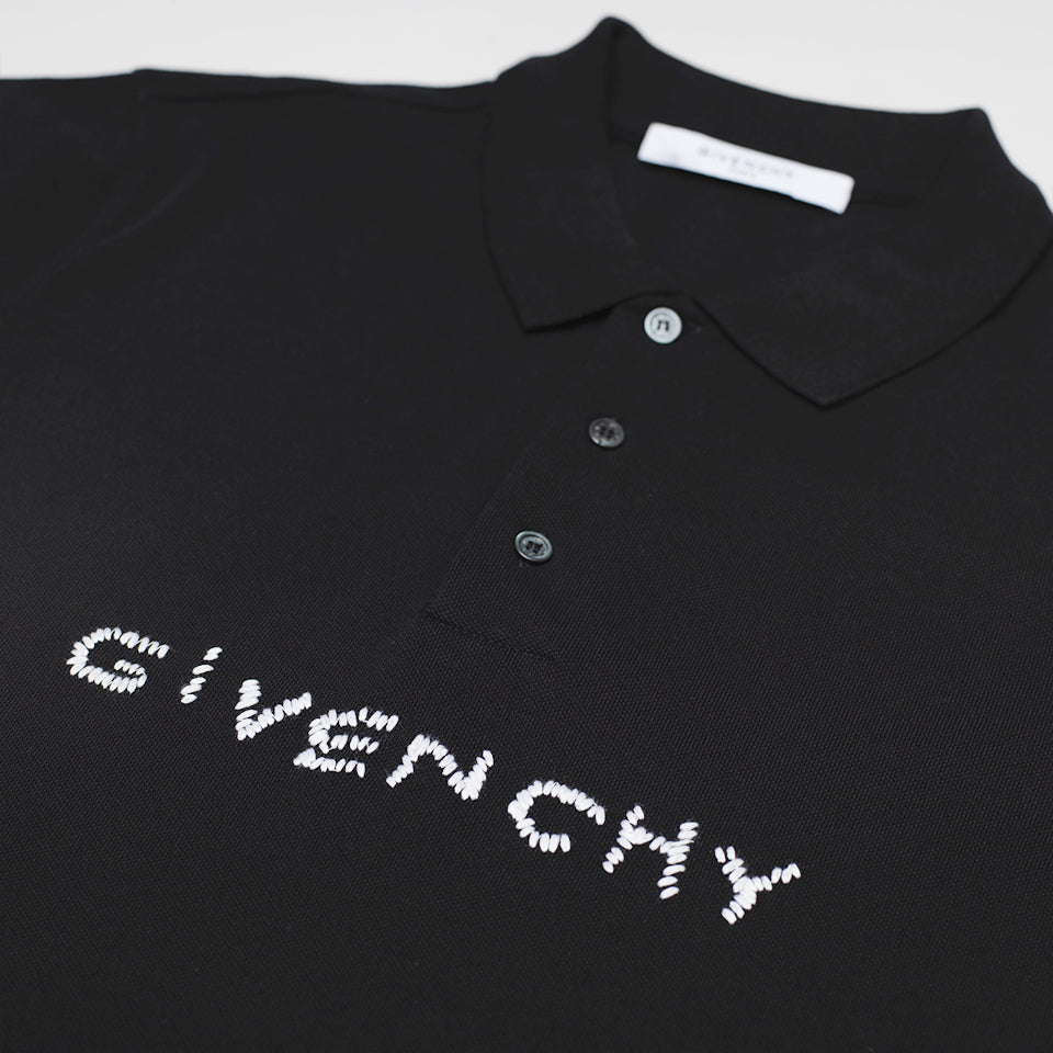 GIVENCHY STITCHED LOGO PRINT POLO SHIRT BLACK