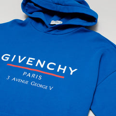 GIVENCHY ADDRESS LOGO-PRINT HOODIE BLUE