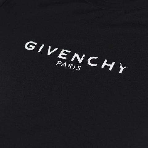 GIVENCHY DISTRESSED-LOGO T-SHIRT BLACK