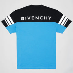 GIVENCHY TWO TONE REFLECTIVE LOGO T-SHIRT BLACK/BLUE