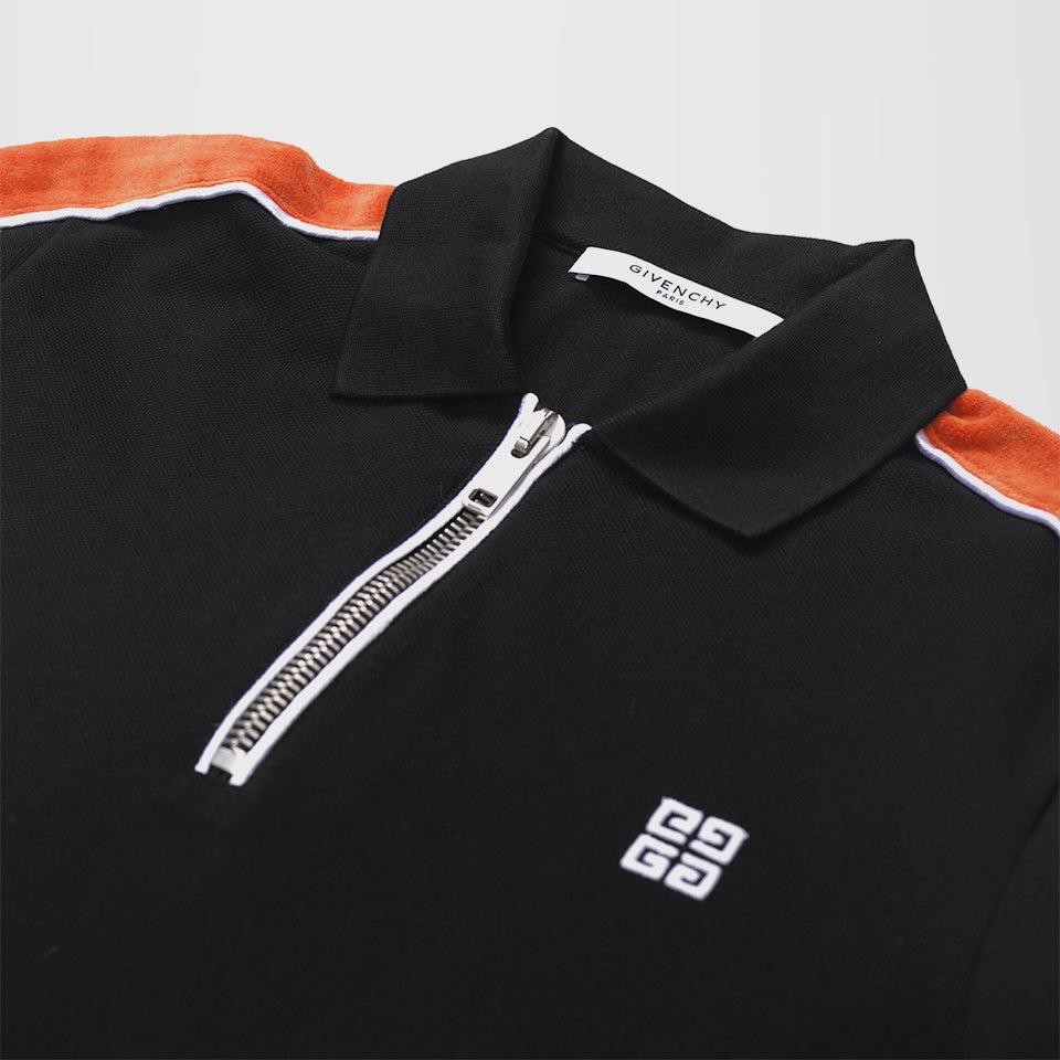 9e77874b GIVENCHY HALF-ZIP COTTON-PIQUÉ POLO SHIRT BLACK/ORANGE – Mr Trendz