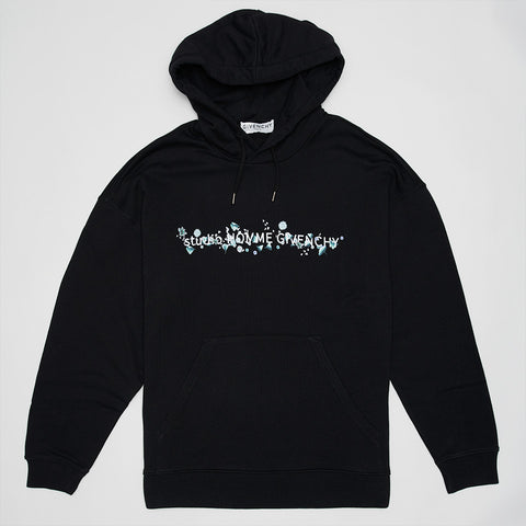 GIVENCHY FLORAL LOGO-PRINT HOODIE BLACK
