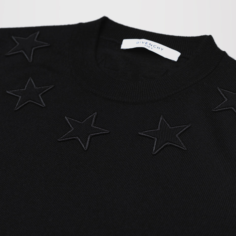 a085dc9d831bd GIVENCHY STAR-APPLIQUÉ WOOL SWEATER BLACK – Mr Trendz