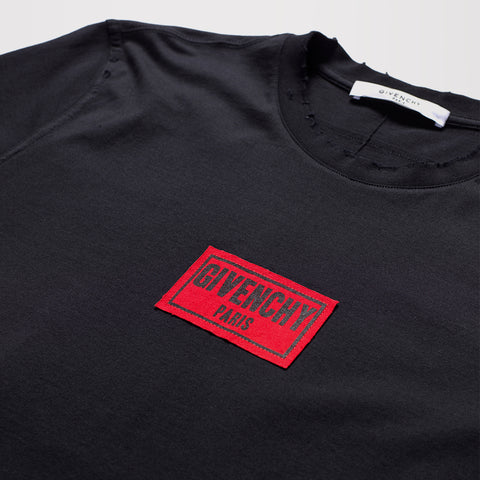 GIVENCHY DISTRESSED BOX LOGO T-SHIRT BLACK
