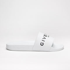 GIVENCHY LOGO EMBOSSED SLIDES WHITE