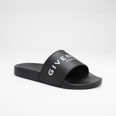 GIVENCHY LOGO EMBOSSED SLIDES BLACK