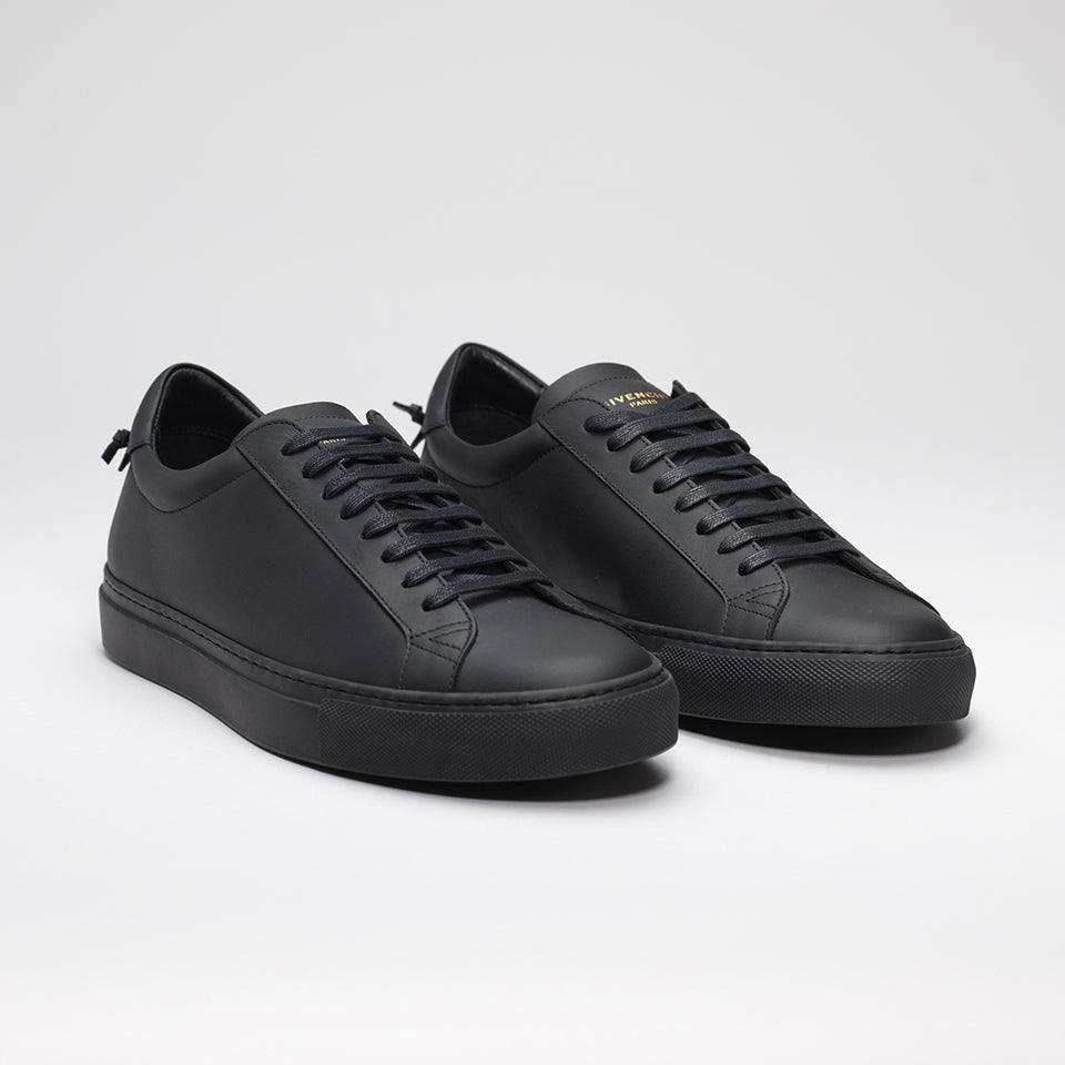 GIVENCHY URBAN STREET LOW-TOP LEATHER TRAINERS TRIPLE BLACK